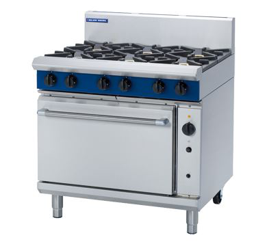 Blue Seal Evolution Series 6 open burners 900mm Gas Range with Convection Oven under , 10amp required