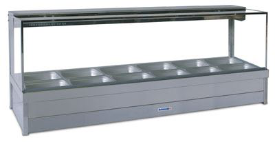 Roband S26RD Square Glass Hot Food Display Bar 12 Pans with Roller Doors - Double Row