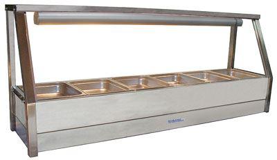 Roband E16 Straight Glass Hot Food Display Bar 6 Pans - Single Row