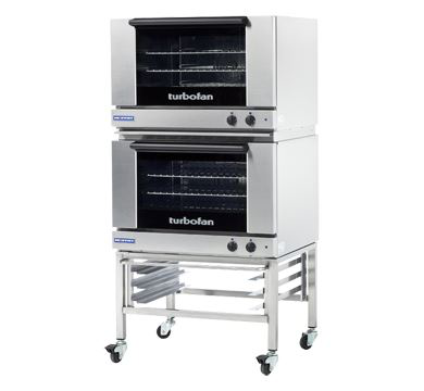 Turbofan Double Stacked Full Size Tray Manual Electric Convection Ovens With Castor Base Stand