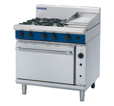 Blue Seal Evolution Series 900mm Gas Range Convection Oven with 4 Burners and 300mm Griddle Plate