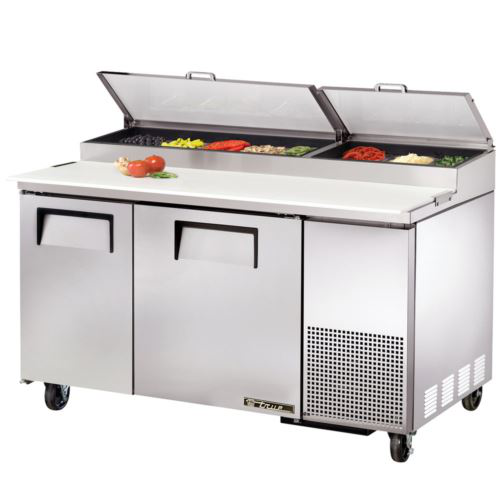 True TPP-60 Pizza Prep Table - 2 x Solid Door Refrigerated Under