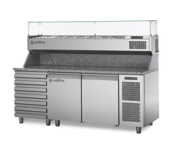 Coldline TZ13/1MC VP Refrigerated Two Door Seven Drawer Pizza Prep Counter
