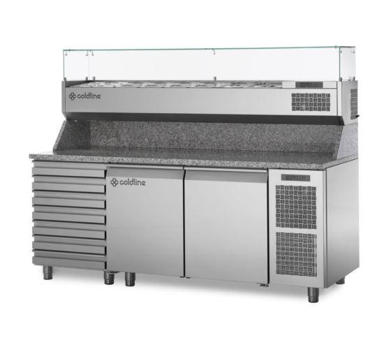 Coldline TZ13/1MC VP Refrigerated Two Door Seven Drawer Pizza Prep Counter