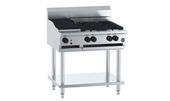 B+S Black BT-SB4-CBR3 Combination Four Open Burners & 300mm Char Broiler
