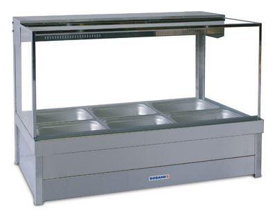 Roband S23 Square Glass Hot Food Display Bar 6 Pans - Double Row