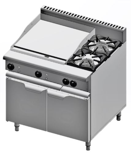 B+S Verro VBT-SB2-GRP6 Combination Two Open Burners & 600mm Grill Plate