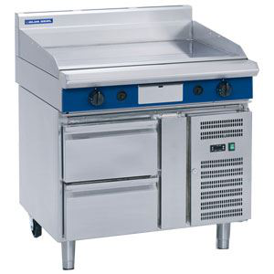 Blue Seal Evolution Series 1200mm Gas Griddle  Refrigerated Base