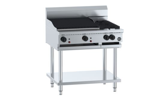B+S Black BT-SB2-CGR6 Combination Two Open Burners & 600mm Char Grill