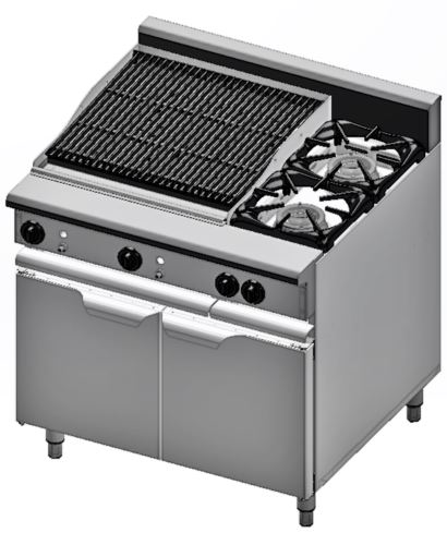 B+S Verro VBT-SB2-CGR6 Combination Two Open Burners & 600mm Char Grill