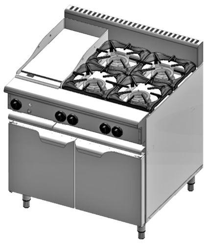 B+S Verro VBT-SB4-GRP3 Combination Four Open Burners & 300mm Grill Plate