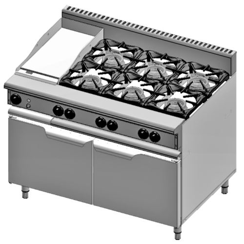 B+S Verro VBT-SB6-GRP3 Combination Six Open Burners & 300mm Grill Plate