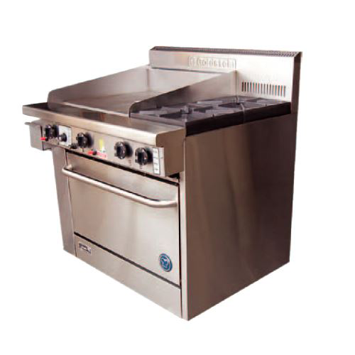 Goldstein PF24G228FF 800 Series 28 inch Fan Forced Gas Oven with 24 inch Griddle Plate - 2 Burner