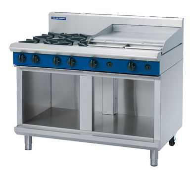 Blue Seal Evolution Series 1200mm Gas Cooktop  Cabinet Base with 4 Burners and 600mm Griddle Plate
