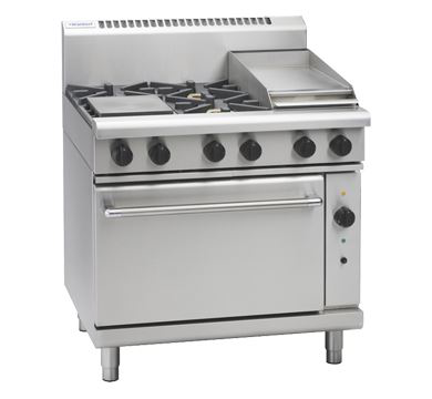 Waldorf 800 Series 900mm Gas Range Convection Oven Low Back Version with 4 Burners and 300mm Griddle Plate