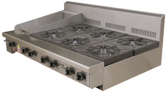 Goldstein PFB12G6 800 Series Static Gas Boiling Top - Bench Mounted with 12inch Griddle Plate - 6 Burner