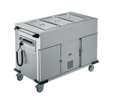 Rieber Bain Marie Top 1 x Heated Cabinet 1 x Refrigerated Cabinet Mobile Food Transport Trolley