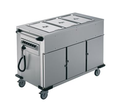 Rieber Bain Marie Top 3 x Heated Cabinets Mobile Food Transport Trolley