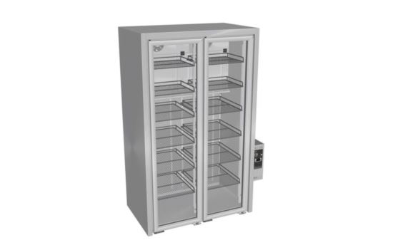 Culinaire CR.BB.V.SG.RB.2 Two Door Stainless Steel Vertical Back Bar Refrigerator with Stainless Steel Framed Glass Doors and a continuous handle