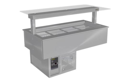 Culinaire CR.CWCF.D.GSF.3 Three Module Drop-In Refrigerated Counter Line Self Contained Flat Glass Gantry