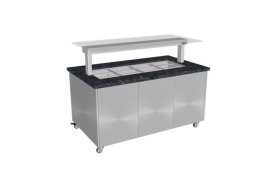 Culinaire CH.IBGS.BMC.U.GSF.3 Three Module Stone Top and Stainless Steel Panels Mobile Heated Island Buffet