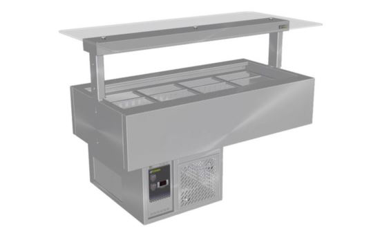 Culinaire CR.CWCF.U.GSF.3 Three Module Under Bench Refrigerated Counter Line Self Contained Flat Glass Gantry