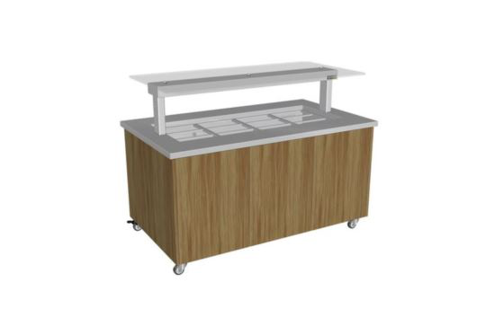 Culinaire CH.IBSJ.BMC.U.GSF.3 Three Module Stainless Steel Top and Joinery Panels Mobile Heated Island Buffet