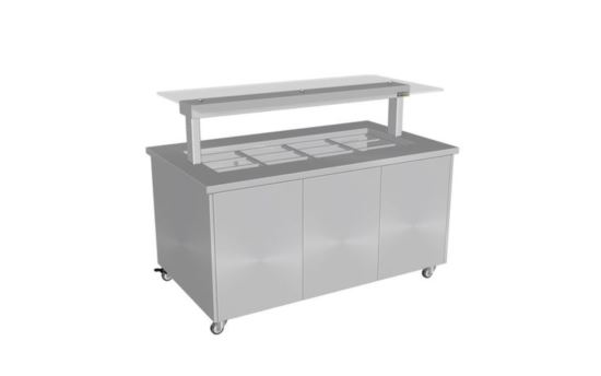 Culinaire CH.IBSS.BMC.U.GSF.3 Three Module Stainless Steel Top and Stainless Steel Panels Mobile Heated Island Buffet