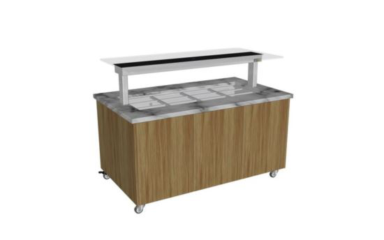 Culinaire CH.IBGJ.BMC.U.GSB.3 Three Module Stone Top and Joinery Panels Mobile Heated Island Buffet -Painted Centre Section - No Fixings