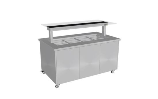 Culinaire CH.IBSS.BMC.U.GSB.3 Three Module Stainless Steel Top and Stainless Steel Panels Mobile Heated Island Buffet -Painted Centre Section - No Fixings