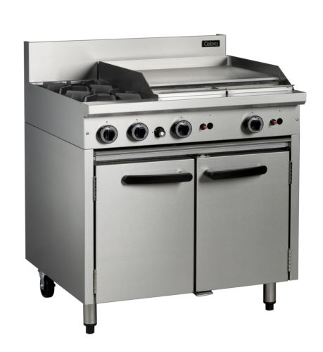 Cobra CR9B - 900mm 2 Burners and 600mm Gas Griddle Plate over 2/1 GN Static Oven Range