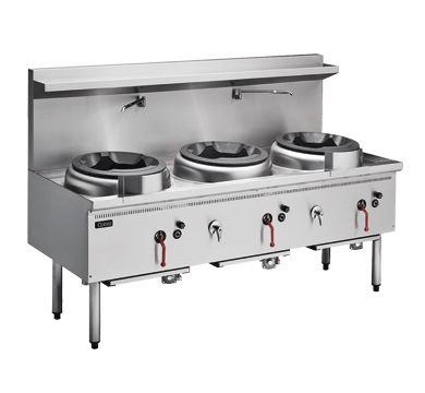 Cobra CW3H-CCC - 1800mm Gas Waterless Wok with 3 Chimney burners