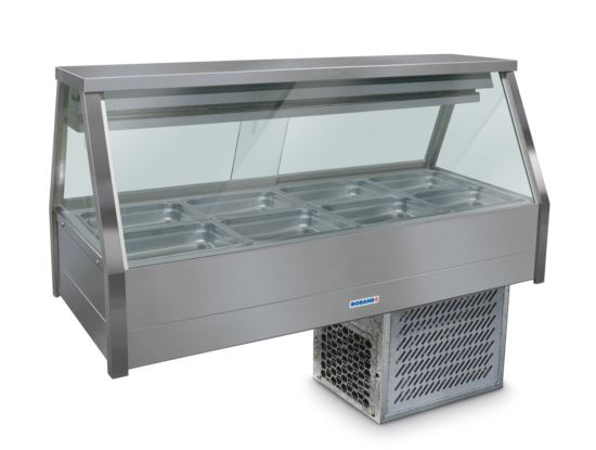 Roband ERX24RD Straight Glass Refrigerated Display Bar 8 pans