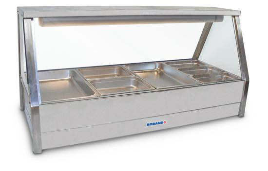 Roband E24RD Straight Glass Hot Food Display Bar 8 Pans with Roller Doors - Double Row