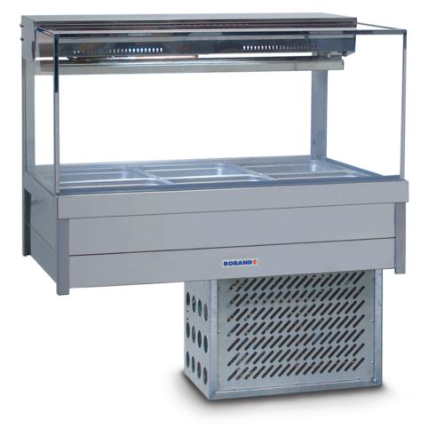 Roband SFX23RD Square Glass Refrigerated Display Bar 6 Pans