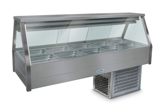 Roband ERX25RD Straight Glass Refrigerated Display Bar 10 pans