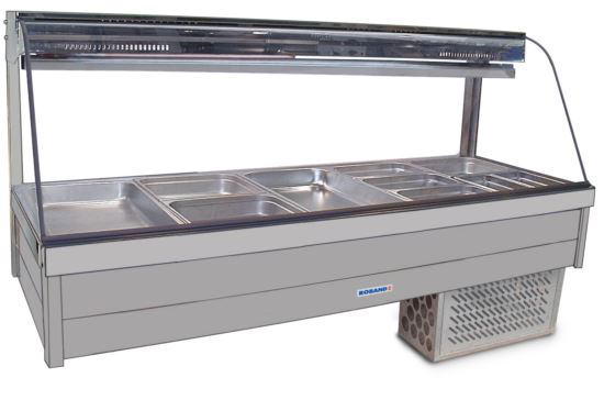 Roband CRX25RD Curved Glass Refrigerated Display Bar 10 Pans