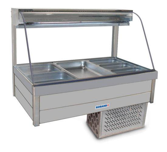 Roband CFX23RD Curved Glass Refrigerated Display Bar 6 Pans