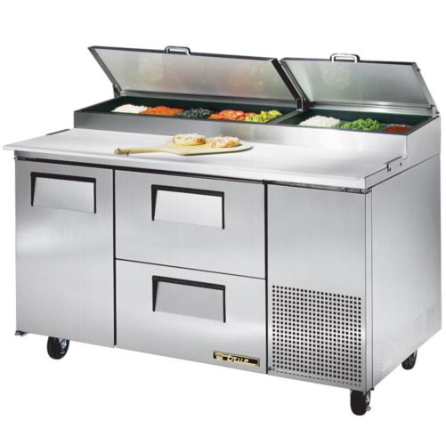 True TPP-60D-2 Pizza Prep Table - 1 x Solid Door and 2 x Solid Drawers