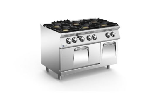 Mareno ANC7FG12G44-NG 70 Series 6 Burner Gas Cook Top w Gas Oven Range w Cabinet 1200mm Wide Nat Gas
