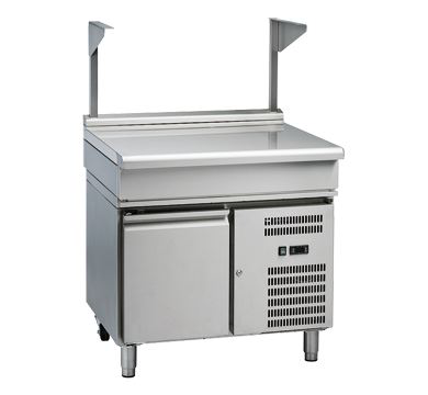 Waldorf 800 Series 900mm Bench Top With Salamander Support Low Back Version  Refrigerated Base