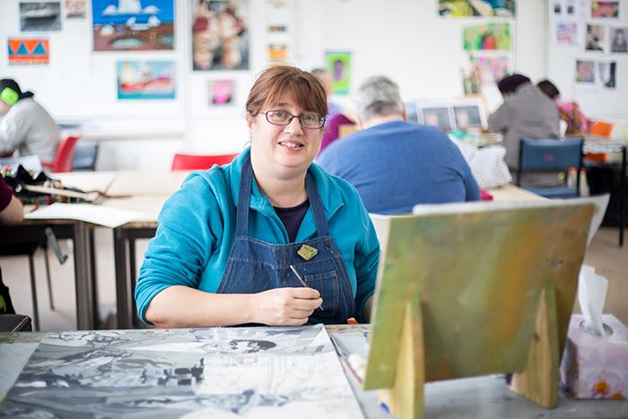 Lisa Reid in the Arts Project studio