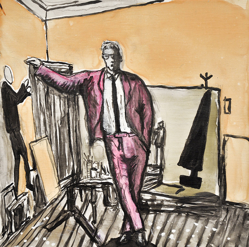 Amani Tia, David Hockney in his studio, 2016, work on canvas, 35 x 35 cm.