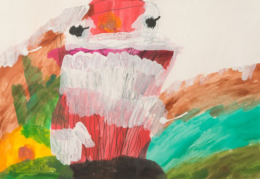 Laura Sheehan, Santa Going Outside with his Sack of Presents for the People to his Reindeer on his Sleigh, 2010, work on paper, 38 x 55.5 cm.