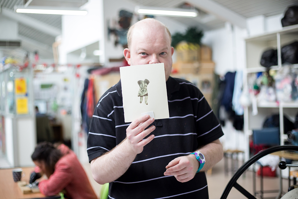 Chris O'Brien in the Arts Project Studio. Photo by Kate Longley.