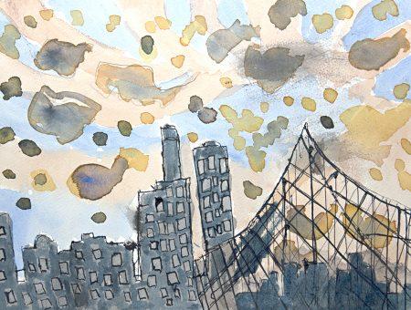 Malcolm Sturrock, Brooklyn Bridge, 2017, ink and gouache on paper, 28 x 38 cm