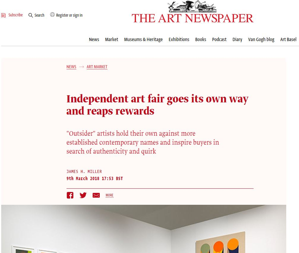 THE ART NEWSPAPER: Independent art fair goes its own way and reaps rewards | 2018