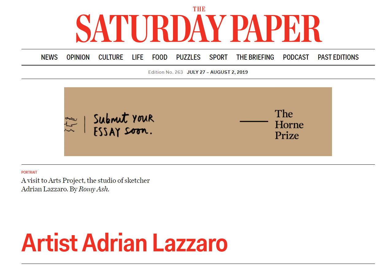 THE SATURDAY PAPER: Adrian Lazzaro at Artery Project Space I 2019