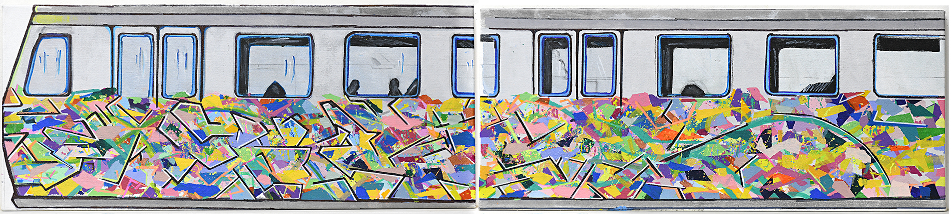 James MacSporran, Train Art, 2019, acrylic and paint pen on canvas, 35 x 164 cm, JAMACV19-0005