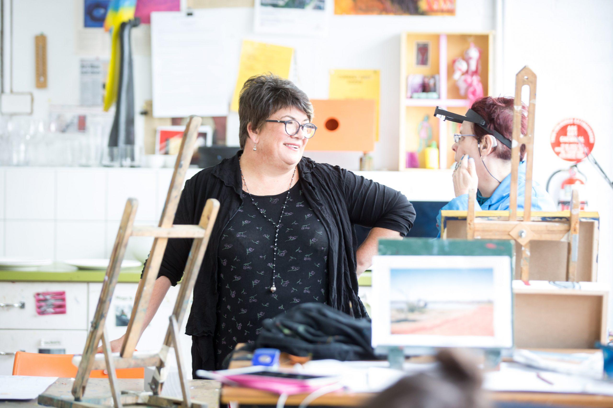 Sue Roff in studio with artist Cathy Staughton
